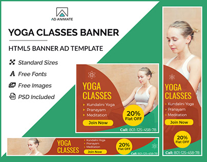 Yoga Fitness Banner- HTML5 Ad Templates