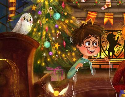 Harry Potter Christmas illustrations
