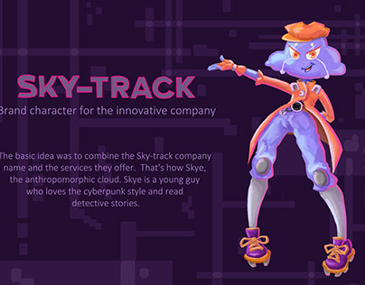 Brand character for the innovative company Sky-track.