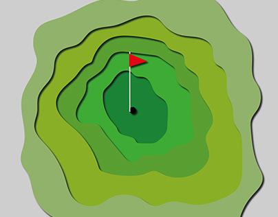 Simple golf course Paper Cutout Illustration
