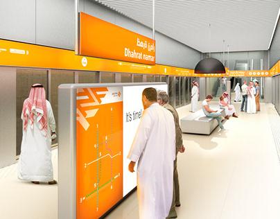 Señalización de la línea 3 del Metro de Riad.