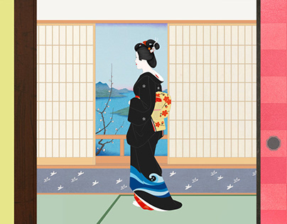 Influence and texture of Ukiyo-e and Japanese painting