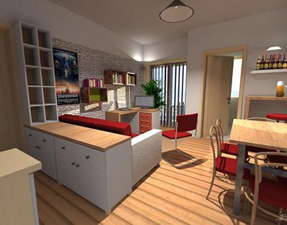 Interior design for private apartment.