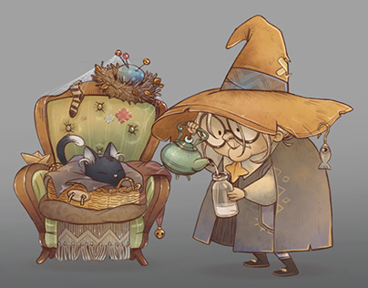 Old witch game concept art