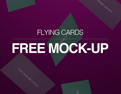 Free Flying Cards Mockup