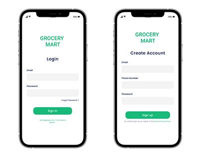Grocery Store (Login and Create Account)