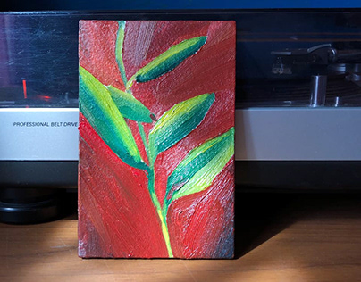 Little plant on red