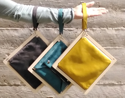 Square Wood Clutch Bag, TWO in ONE Envelope Purse with