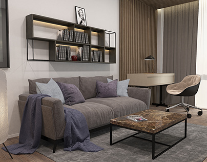 Two-bedroom apartment in the lounge style in the center