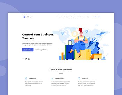 Landing page for business platform