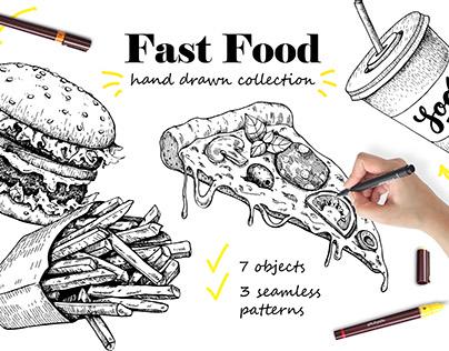 Fast Food Sketch Set. Detailed Hand Drawn Illustrations
