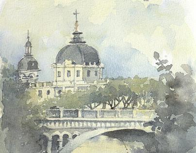 Hôtel-Dieu de Lyon, France. Watercolor Sketch.