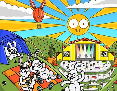 Leeds Inspired White Rabbits Illustration