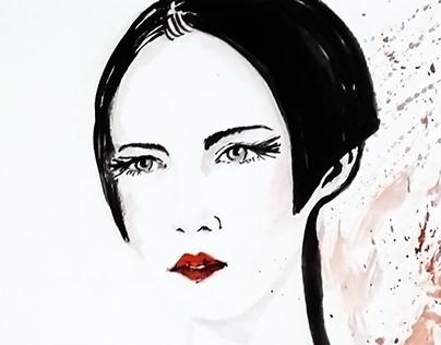 Portrait  style of fashion illustration