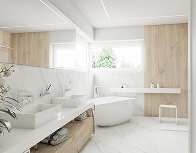 Main bathroom #marble #wood