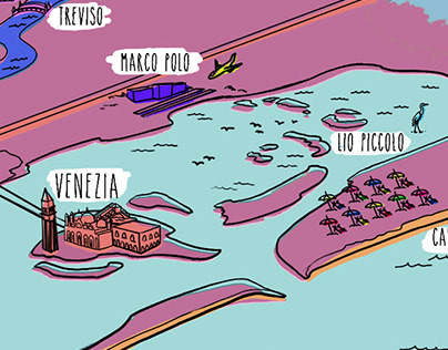 Cavallino Bianco Illustrated map
