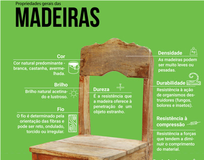 Infográfico: propriedades gerais da madeira