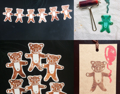 Linocut stickers Teddy Bear