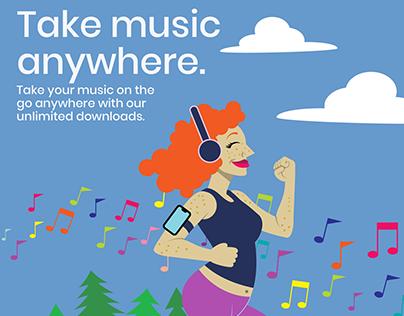 Melody illustrations, website and ad campaign