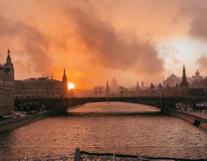 Москва. Закат после снегопада