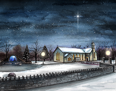 'Robeen Church at Christmas' - Watercolour & Pen