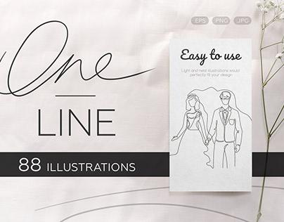 One line illustrations