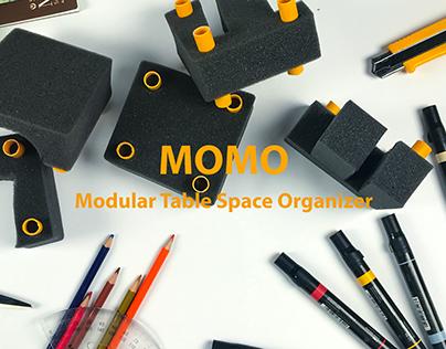 Recycled Materials study: MOMO--Modular table organizer