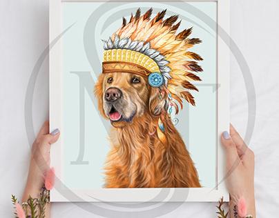 Golden Retriever Indian Headdress