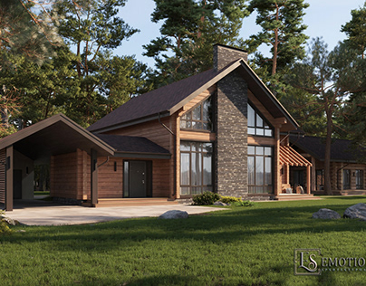 Визуализация деревянного дома (3Dmax+V-Ray+PS)