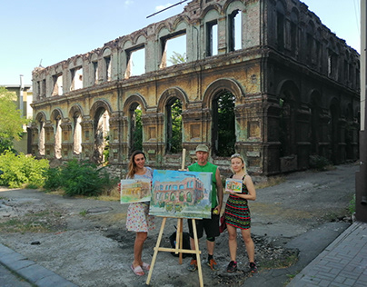 Pleinair on the ruins of Mariupol Synagogue