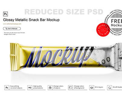 Free Glossy Metallic Snack Bar Mockup