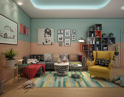 Retro house interior with IKEA funriture