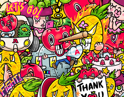 LINE Sticker : Mr. Apple & Fruity Friends