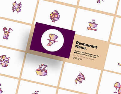 Restaurant Menu | 16 Thin Line Icons Set