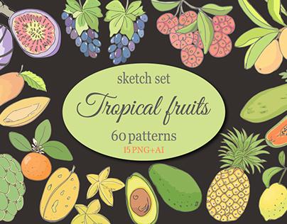 """Sketch """"Tropical fruits"""""""
