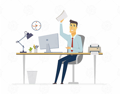 Happy office worker Character Vector Free Download