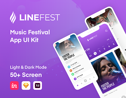 LineFest - Music Festival Mobile App UI Kit