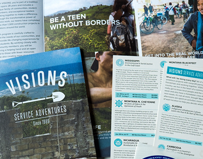 Visions Service Adventures logo refresh and brochure.