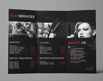 Tri-fold professional brochure design (hairdresser)