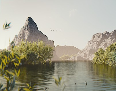 Lake View | 3D Nature Still