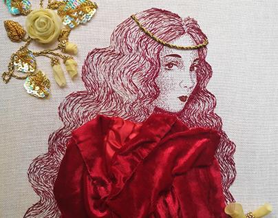 Hand Embroidery / Esclarmonde de Foix / Medieval Icons