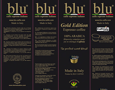 BLU CAFÉ Int Package Design for coffee capsules