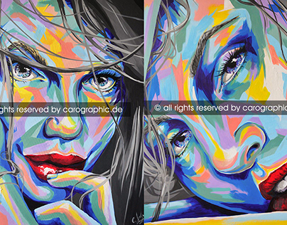 portrait painting acrylic colorful carographic art