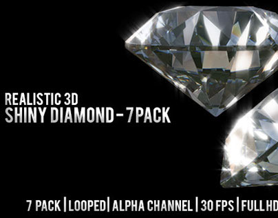 Realistic 3D Shiny Diamond - 7 pack