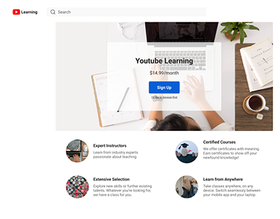 YouTube Learning landing page