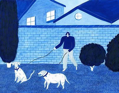 Brunch Shop - Hometown Postcard Illustration