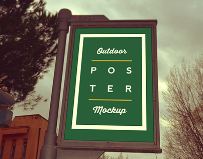 Outdoor poster mockup (Free)