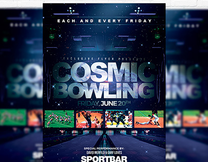 Cosmic Bowling – Premium Flyer Template + Facebook Cove