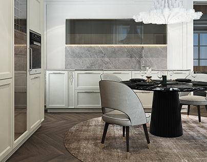 The beige tones Dining room