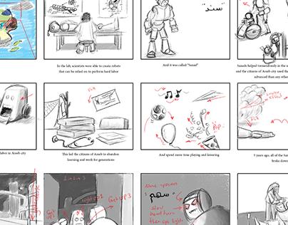 Storyboard - Areeb World game Intro.